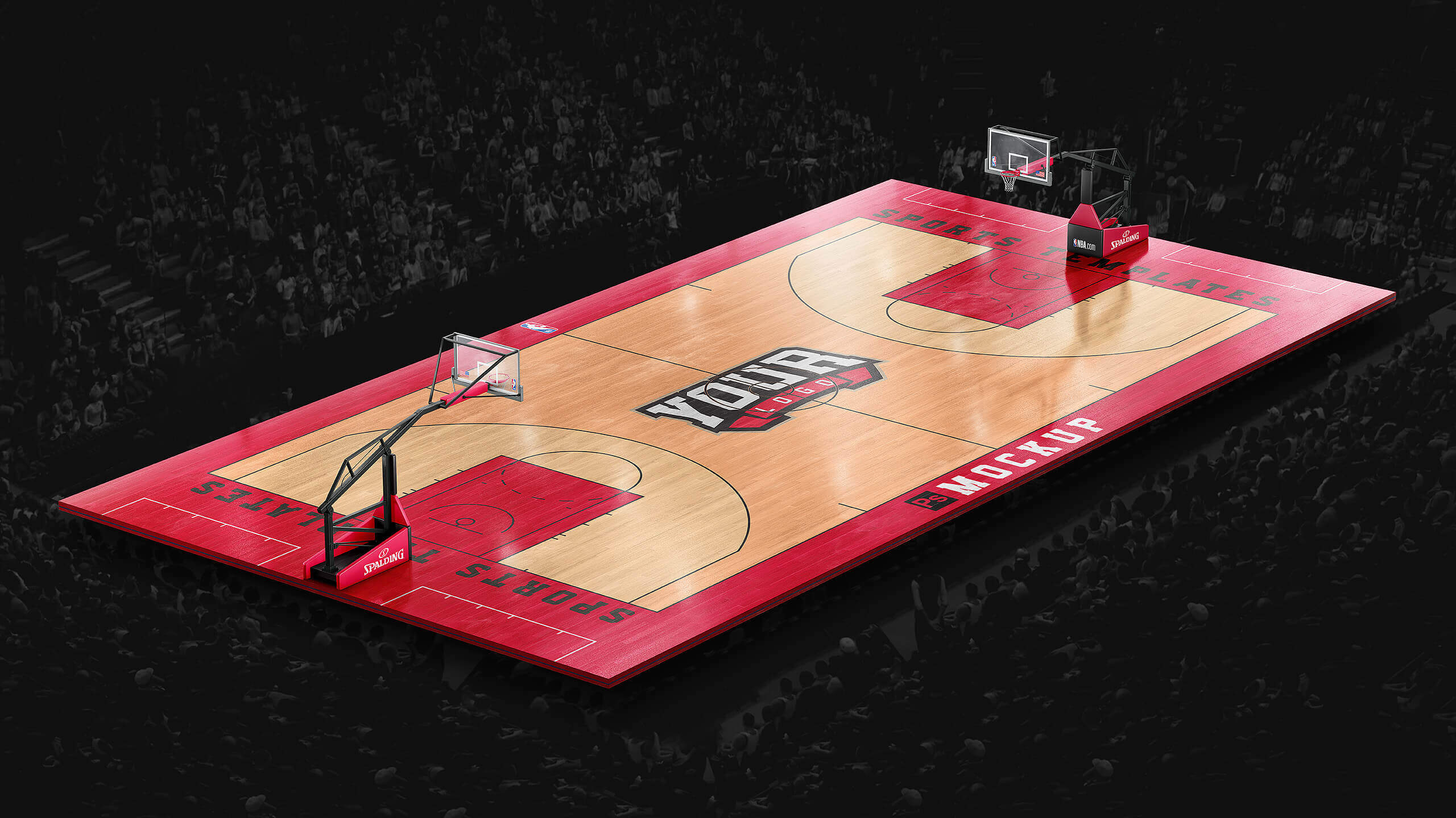 Basketball Full Court Template Mockup Sports Templates